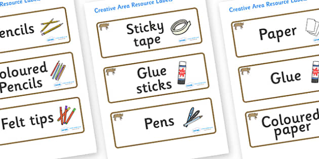 Bobcat Themed Editable Creative Area Resource Labels - Themed creative resource labels, Label template, Resource Label, Name Labels, Editable Labels, Drawer Labels, KS1 Labels, Foundation Labels, Foundation Stage Labels