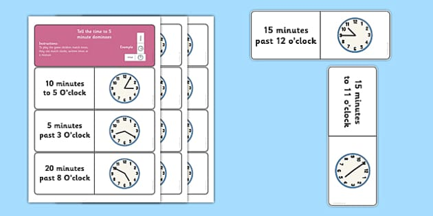 Tell the Time to 5 Minute Dominoes - maths, numeracy, clocks, matching, comparing, analogue, KS1, KS2