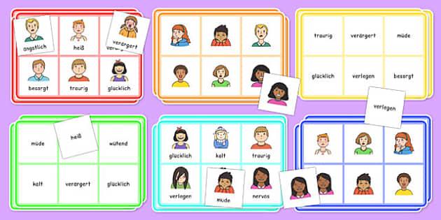 Feelings Bingo German - german, feelings, bingo, activity, game, class, play