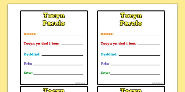 Tocyn Parcio - welsh, cymraeg, role-play, parking, car, ticket, parking ticket