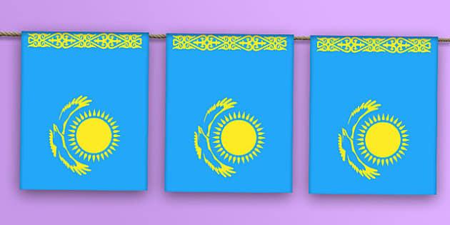 Kazakhstan Flag Bunting - kazakhstan flag, kazakhstan, flag, bunting, display bunting, display