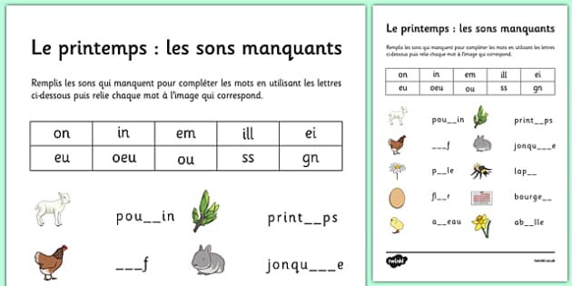 Spring Phase 3 Missing Sounds Worksheet French - spanish, spring, phase 3, phases