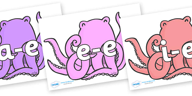Modifying E Letters on Octopus to Support Teaching on The Rainbow Fish - Modifying E, letters, modify, Phase 5, Phase five, alternative spellings for phonemes, DfES letters and Sounds