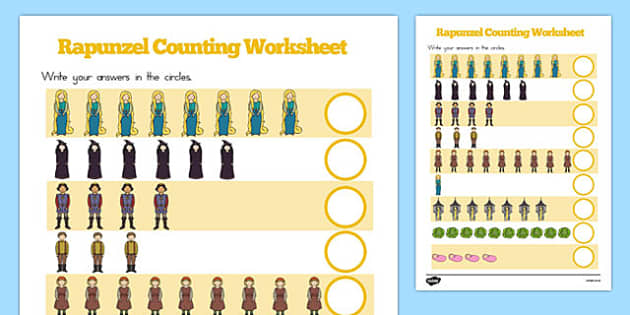 Rapunzel Counting Sheet - australia, rapunzel, counting sheet