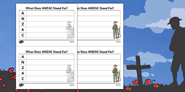 Anzac Acronym Writing Activity Sheet - nz, new zealand, anzac, acronym, writing, activity, sheet, worksheet