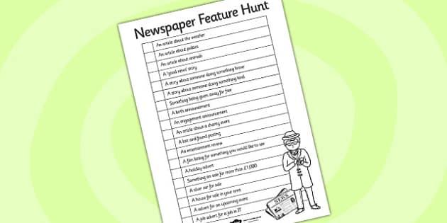 Newspaper Feature Hunt Checklist - Newspaper, Hunt, Newspaper Hunt, Checklist, Ticklist, Article Checklist, Newspaper Checklist, Hunt Checklist