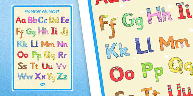 Monster Alphabet Large Display Poster - monster alphabet, monster, alphabet, display poster, display, poster, large