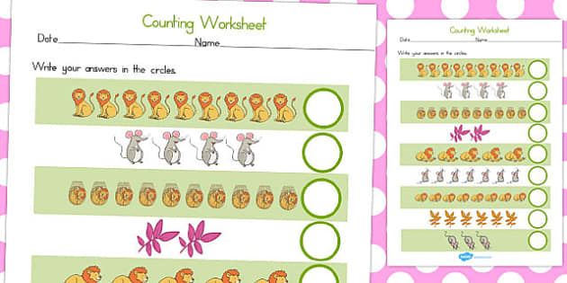 The Lion and the Mouse Counting Sheet - australia, counting