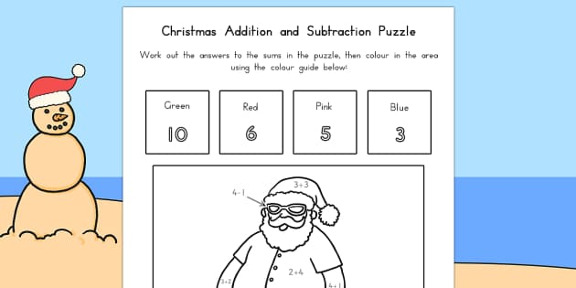 Christmas Addition and Subtraction Puzzle - australia, christmas