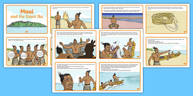 Māui and the Giant Ika Story Sequncing Card