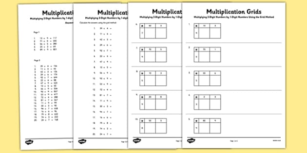 Multiplying 2 Digit Numbers by 1 Digit Numbers Using Grid Method – Grid Method of Multiplication Worksheets