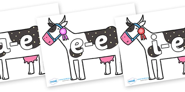 Modifying E Letters on Cow to Support Teaching on What the Ladybird Heard - Modifying E, letters, modify, Phase 5, Phase five, alternative spellings for phonemes, DfES letters and Sounds