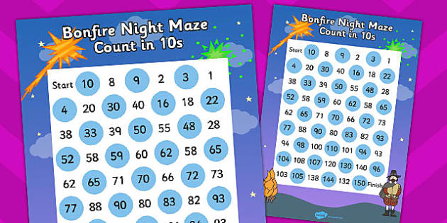 Bonfire Night Counting in 10s Maze - count, counting aid, maths