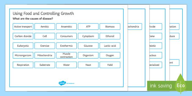 OCR 21st Century Biology Using Food and Controlling Growth Word Mat - Word Mat, gcse, biology, respiration, cellular respiration, respire, aerobic, anaerobic, ATP, glucos