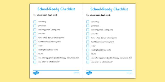 School Ready Checklist Secondary - school, ready, checklist, secondary