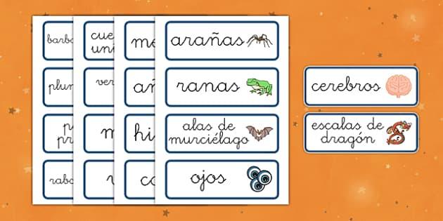 Tarjetas de vocabulario Poción mágica