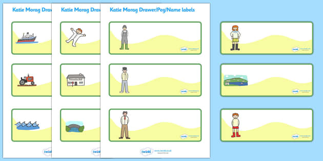Editable Drawer - Peg - Name Labels to Support Teaching on Katie Morag - Katie Morag, Mairi Hedderwick, story, scotland, book, resources, Resource Labels, Name Labels, Editable Labels, Drawer Labels, story book, story resources, Coat Peg Labels