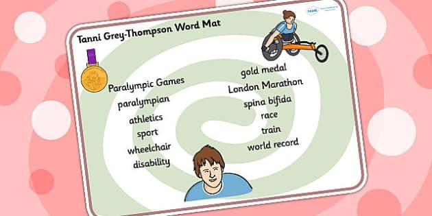 Tanni Grey Thompson Word Mat - tanni grey thompson, word mat