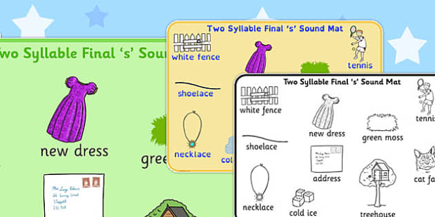 Two Syllable Final 'S' Sound Word Mat 2 - final s, sound, word mat