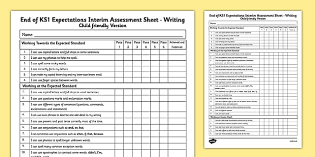 End of KS1 Expectations Interim Assessment Tracking Sheet - Writing (Child Friendly Version) - end of ks1, expectations, tracking sheet, track, writing