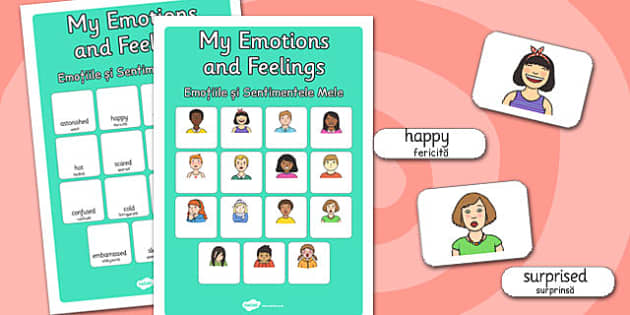 My Emotions and Feelings Vocabulary Matching Mat Romanian Translation - romanian