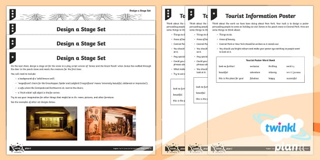 PlanIt Y4 Explorers: James and the Giant Peach Home Learning Tasks - set, design, play, theatre, tourist, poster, advertising, new york, roald dahl, dahl, roald, homewor