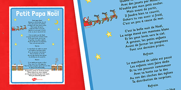 Petit Papa Noël Lyric Poster French - french, language, petit papa noel, christmas, carol
