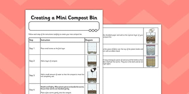 Creating a Mini Compost Bin Instruction Sheet - compost bin, sheet