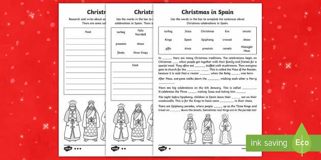 KS1 Christmas in Spain Differentiated Writing Activity Sheet - Christmas, Nativity, Jesus, xmas, Xmas, Father Christmas, Santa, St Nic, Saint Nicholas, traditions,