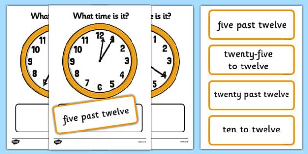 Clock Matching Activity Five Minutes - clock matching, activity, five minutes, clock, match