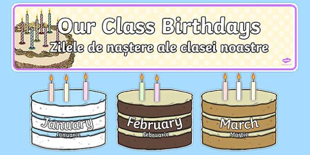 Editable Birthday Display Set Cakes Romanian Translation-Romanian-translation