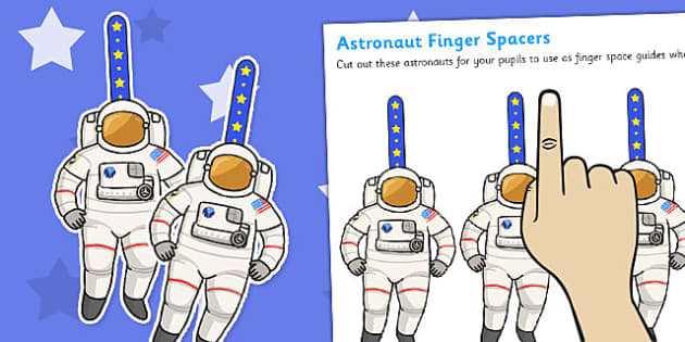 Writing Finger Spacers Astronaut - education, home school, free