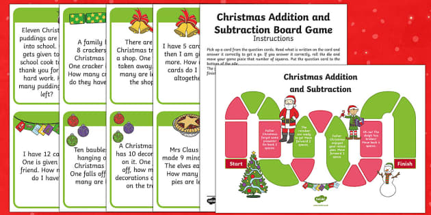 Reception Addition and Subtraction Christmas Themed Board Game - Christmas, Christmas Numeracy, Wales, Outcome 3, Addition, Subtraction, Foundation Phase Profile, Nu