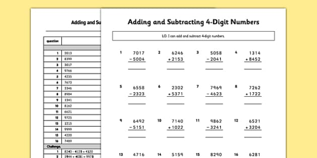 Adding and Subtracting 4-Digit Numbers with No Exchanging or Carrying Activity Sheet Pack - adding, subtracting, 4 digit numbers, exchanging, carrying, activity, worksheet