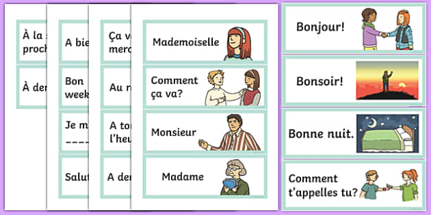 French Greetings Flashcards - french, greetings, flashcards