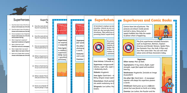 Comic book superheroes differentiated reading comprehension activity English/Polish