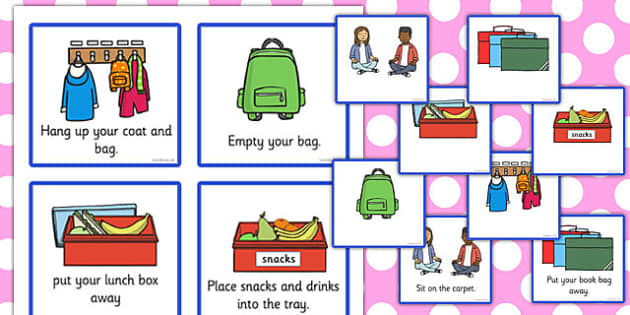 morning reminder cards, classroom, help, check list, kids, free