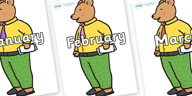 Months of the Year on Mr Bear to Support Teaching on The Jolly Christmas Postman - Months of the Year, Months poster, Months display, display, poster, frieze, Months, month, January, February, March, April, May, June, July, August, September