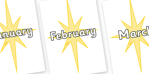 Months of the Year on Christmas Stars - Months of the Year, Months poster, Months display, display, poster, frieze, Months, month, January, February, March, April, May, June, July, August, September