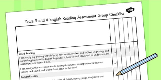 2014 Curriculum LKS2 Years 3 and 4 Reading Assessment Checklist
