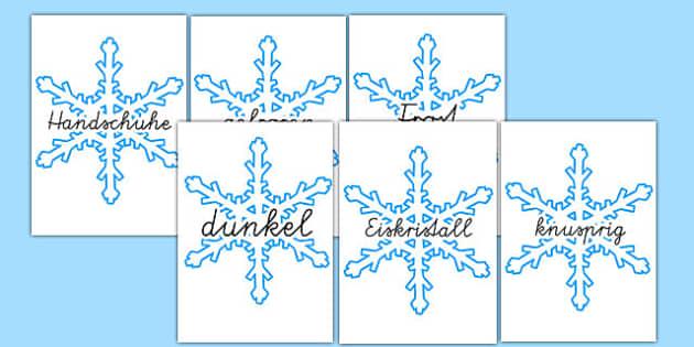Winter Wörter auf Schneeflocken Karten