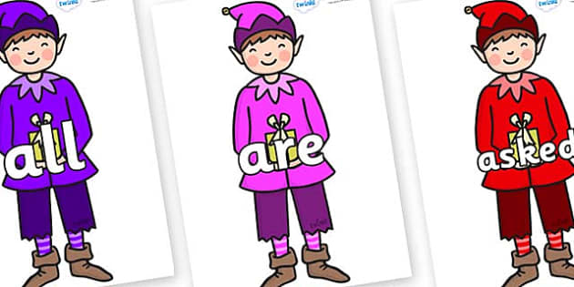 Tricky Words on Boy Elves (Multicolour) - Tricky words, DfES Letters and Sounds, Letters and sounds, display, words