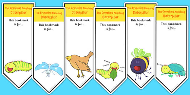 Editable Bookmarks to Support Teaching on The Crunching Munching Caterpillar - books