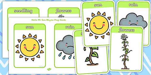Hello Mr Sun Rhyme Prop Word and Picture Cards - hello, mr sun, rhyme, prop, cards