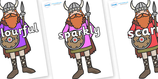 Wow Words on Vikings - Wow words, adjectives, VCOP, describing, Wow, display, poster, wow display, tasty, scary, ugly, beautiful, colourful sharp, bouncy
