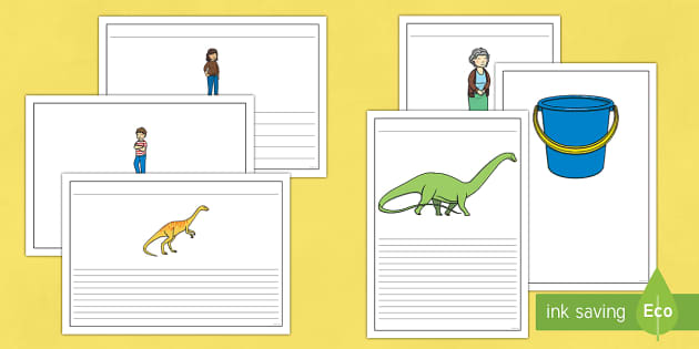 Writing Frames to Support Teaching on Harry and the Bucketful of Dinosaurs - write, read