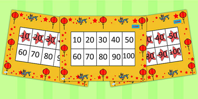 10-100 Chinese New Year Number Square PowerPoint - counting