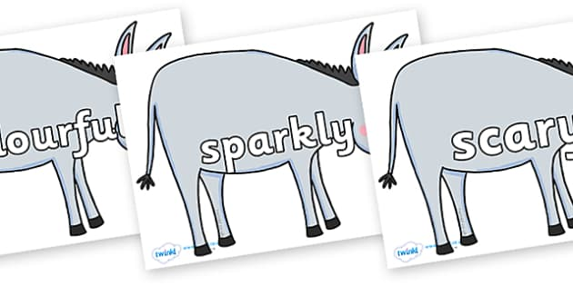 Wow Words on Hullabaloo Donkey to Support Teaching on Farmyard Hullabaloo - Wow words, adjectives, VCOP, describing, Wow, display, poster, wow display, tasty, scary, ugly, beautiful, colourful sharp, bouncy