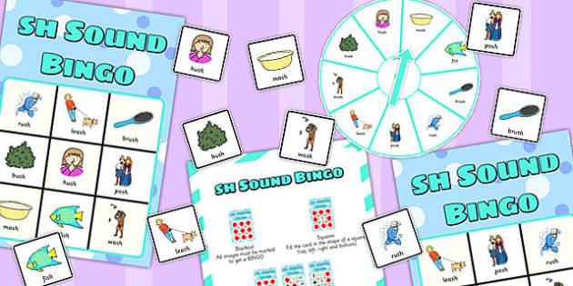 Final 'Sh' Sound Spinner Bingo - sh sound, final, spinner, bingo