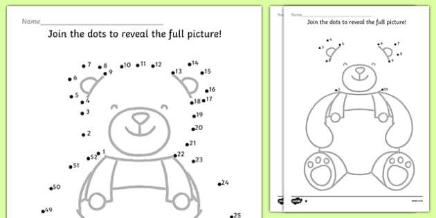 Teddy Bears' Picnic Dot to Dot - teddys, dot to dot, bears, bear